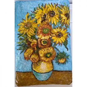 Картины 3д для интерьера. «Подсолнухи Ван Гога». Объёмное панно на стену