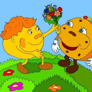 Колобок и Калорийная Булочка иллюстрация к новой сказке про колобка «Как колобок решил человеком стать»