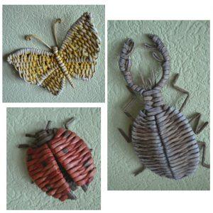 Божья коровка жук и бабочка из газетных трубочек