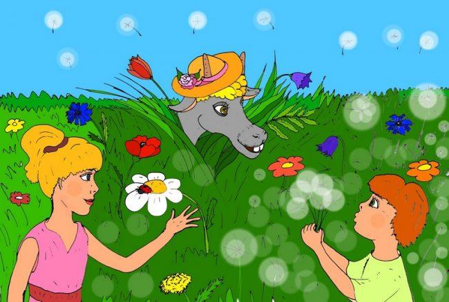 Иллюстрация к стихам про луг для детей «На зелёном на лугу»