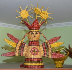 Птица Сирин из газетных трубочек