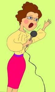 Женщина с микрофоном детская цветная картинка