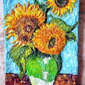 Ваза с подсолнухами Ван Гога фактурная картина