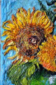 Подсолнухи Ван Гога объёмная картина - увеличенная часть