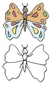 дорисовать картинку бабочка