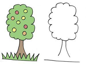 дорисуй и раскрась дерево