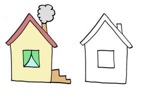 дорисуй картинку для малышей домик