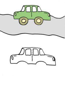 дорисовать картинку и раскрасить для детей машина