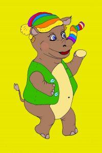 Носорог - рисунок иллюстрация к детским стихам сказке