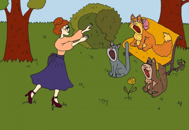 Тетя Мотя и коты - иллюстрация автора к смешным стихам про весну и котов