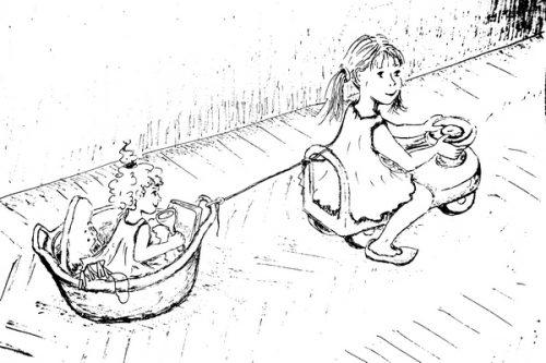 игра в паровоз иллюстрация автора к книге Девочка с крыльями дело обычное